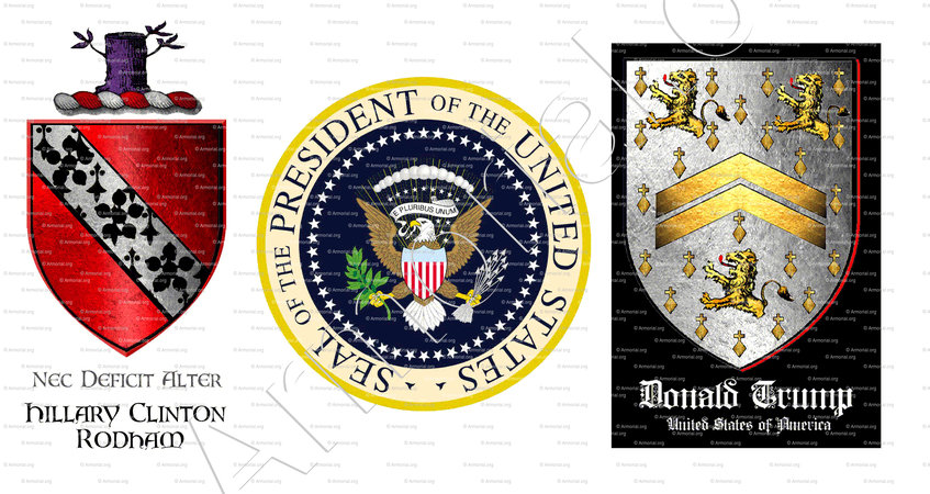 HILLARY CLINTON ... DONALD TRUMP_coat of arms Rodham ... Donald Trump_United of América.