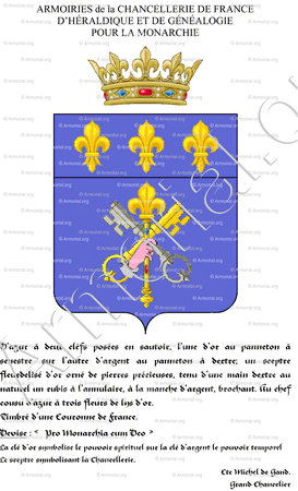 CHANCELLERIE DE FRANCE D'HERALDIQUE ET  DE GENEALOGIE POUR LA MONARCHIE_Cte Michel de Gand, Grand Chancellier._France